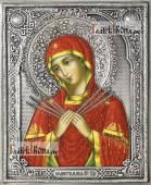 Семистрельная Божия Матерь, икона в серебряном окладе на доске