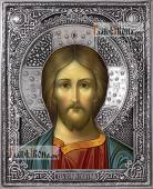 Спаситель оплечный икона в серебряном окладе на доске