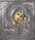 Казанская Божия Матерь с венцом икона в окладе из серебра на доске