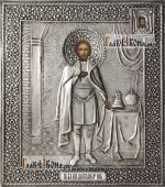 Александр Невский икона в серебряном окладе на доске