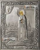 Серафим Саровский ростовой икона в серебряном окладе на доске
