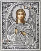 Ангел Хранитель икона в серебряном окладе на доске
