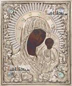 Казанская Вышенская икона в серебряном окладе на доске