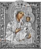 Черниговская Божия Матерь, икона в серебряном окладе на доске