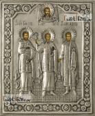 Гурий Самон и Авив икона в серебряном окладе на доске
