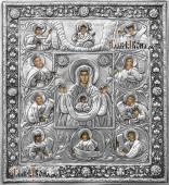 """Курская-Коренная """"Знамение"""" икона в серебряном окладе на доске"""