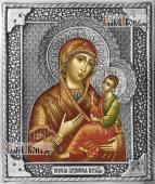 Грузинская (Раифская) Божия Матерьь, икона в серебряном окладе на доске