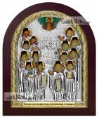 Оптинские старцы икона в серебре арочная