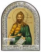 Иоанн Предтеча икона шелкография с латунной рамкой