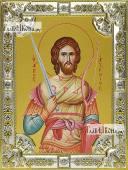 Артемий Антиохийский, икона в посеребренной ризе, 18х24 см