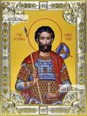 Иоанн Воин, икона в посеребренной ризе 18х24 см.