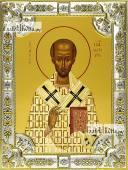 Иоанн Златоуст, икона в посеребренной ризе 18х24 см.