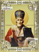 Николай Чудотворец (в митре), икона в посеребренной ризе, 18х24 см.