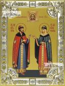 Петр и Феврония княжеские икона в посеребренной ризе 18х24 см