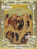 Рождество Христово с волхвами икона в посеребренной ризе 18х24 см