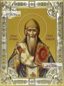 Спиридон Тримифунтский в одеждах епископа икона в посеребренной ризе 18х24 см