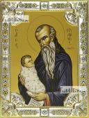 Стилиан Пафлагонский, икона в посеребренной ризе, 18х24 см.