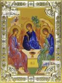 Троица Пресвятая Рублева икона в посеребренной ризе 18х24 см