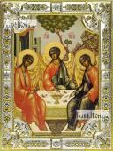 Троица Пресвятая икона в посеребренной ризе 18х24 см