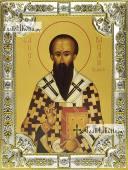 Василий Великий икона в посеребренной ризе 18х24 см