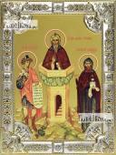 Даниил пророк, Даниил Столпник преподобный, Даниил Московский, икона в посеребренной ризе, 18х24 см.