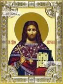Платон Анкирский икона в посеребренной ризе 18х24 см