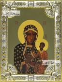Ченстоховская Божья Матерь икона в посеребренной ризе 18х24 см
