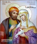 Петр и Феврония поясные с голубем икона маслом