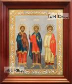 Самон, Гурий и Авив, аналойная икона в темном киоте