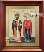 Киприан и Устинья аналойная икона в темном киоте