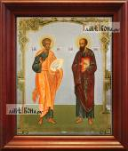 Петр и Павел аналойная икона в темном киоте
