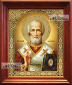 Николай Чудотворец в живописном стиле аналойная икона в темном киоте