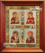 Четырехчастная Божия Матерь, аналойная икона в темном киоте