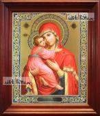 Владимирская Божия Матерь аналойная икона в темном киоте