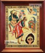 Усекновение главы Иоанна Предтечи аналойная икона в темном киоте