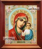 Казанская Божия Матерь живописный лик аналойная икона в темном киоте