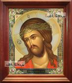 Христос в терновом венце аналойная икона в темном киоте