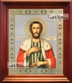 Александр Невский, большая аналойная икона в деревянном киоте