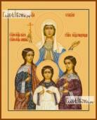 Вера Надежда Любовь и София поясные - икона на дереве печатная