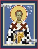 Августин Иппонийский блаженный, икона на дереве печатная