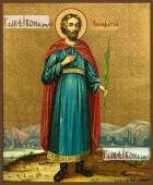 Вонифатий мученик старинный образ икона на дереве печатная