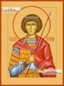 Георгий Победоносец поясной икона на дереве печатная