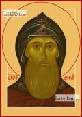 Даниил Московский (оглавый), икона на дереве печатная