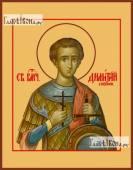 Димитрий Солунский с крестом икона на дереве печатная