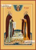 Зосима и Савватий Соловецкие (на острове), икона на дереве печатная
