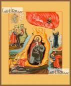 Илия пророк (с житьем), икона на дереве печатная