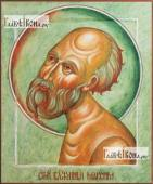 Максим блаженный Московский, оплечный, печатная на дереве икона