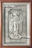 Ангел Хранитель, серебряная икона аналойная в деревянной рамке