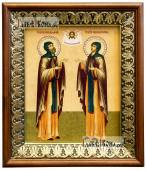 Петр и Феврония икона на холсте в киоте-рамке