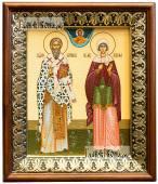 Киприан и Устиния икона на холсте в киоте-рамке